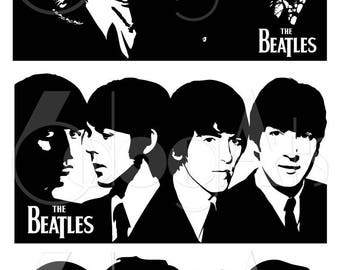The Beatles Portraits Digital Cut Files Svg Dfx Eps Png - Silhouette SCAL Cricut Vector Printable Download Paper Vinyl Die Cutting JB-653