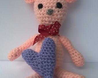 Pink Teddy Bear with Purple Heart