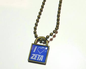 I Love Zeta brass lock necklace