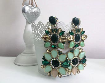 Green Gold Clip On Earrings Florence