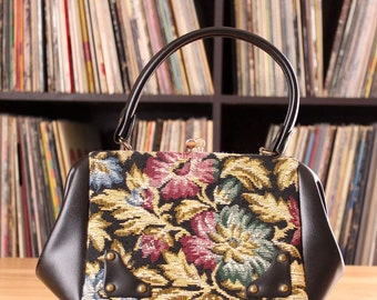 vintage tapestry purse by Dover . floral weave and vinyl handbag . 1950s 60s purse