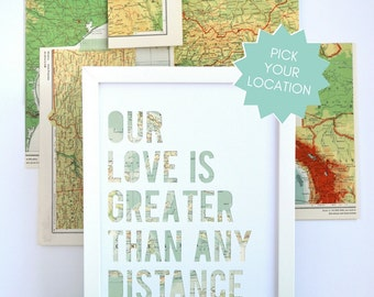 Long Distance Relationship Gift Idea, Military Deployment Separation Gift, Custom Map Art, Personalized Map, Romantic Gift Idea