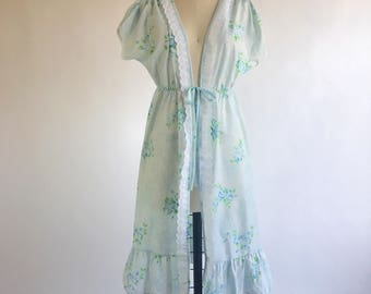 1960s Pale Blue Floral House Robe by Mistra