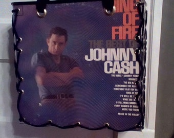 "Johnny Cash ""Ring of Fire"" record album cover tote bag"