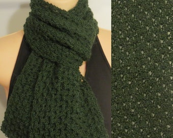 Hand Knit Scarf Lace Alpaca Wool Forest Green