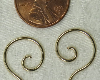 16g, 14k Gold fill, Spiral earrings, 2's