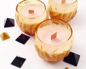 BLOOD ORANGE Candle -  Wooden Wick Crystal Candle -  - Vegan Non GMO - Natural Hand Poured Signature By BethKaya
