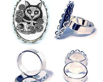 Day of the Dead Cat Ring Mexican Sugar Skull Cat Ring Gothic Silver Cat Ring Cameo Ring 25x18mm Gift for Cat Lovers Jewelry