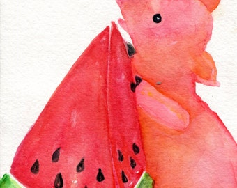 Farmhouse decor, Happy Pig, Watermelon Watercolor painting, Original pig art painting, 5 x 7
