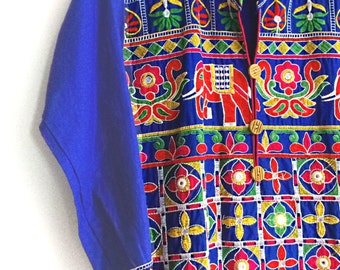 Vintage Embroidered Indian Dress, Cotton, Colourful, New Old Stock, Blue, Indigo, Ethnic, Boho, Elephants