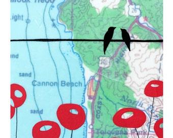 Cannon Beach Map Print // Map Art // Travel Art // Love Bird Art // Oregon Coast Art // Modern Decor // Modern Poppy Art