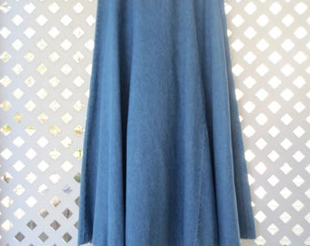 Long Basic Cotton Denim Skirt with Flared Bottom - Size 6/8 Petite