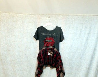 REVIVAL Women's Upcycled Boho Shirt, Rock Band Grunge Plaid Bohemian Junk Gypsy Style, Small to Medium, Recycled Repurposed EcoFriendly