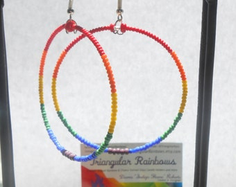Rainbow/ Chakra Seed Bead Hoop Earrings