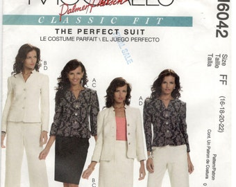 McCall's McCalls  6042 Size 16, 18, 20, 22. Women's plus size pattern: Lined Jacket, Skirt and Pants.  Perfect Suit, Palmer / Pletsch