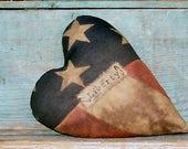 American Flag Heart Pillow, Primitive Decor, Patriotic Farmhouse Style, Rustic Americana Farmhouse - LIBERTY - Ready to Ship