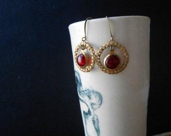 erzsebet - ruby red rhinestone filigree hoop earrings - art nouveau inspired jewelry