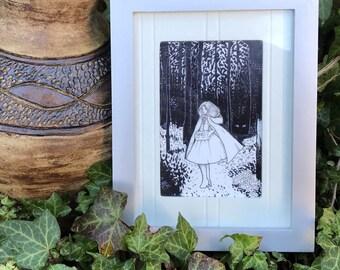 Mini Print, Fairytale Prints, Fairytale Art, Postcard Print, Valentine's Day Card, Art Print, Black and White, Art Postcard