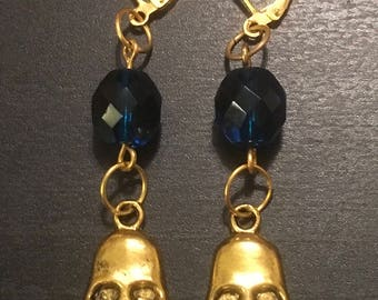 Goldtone Skull and Blue Glass Beaded Dangle Earrings Gothic