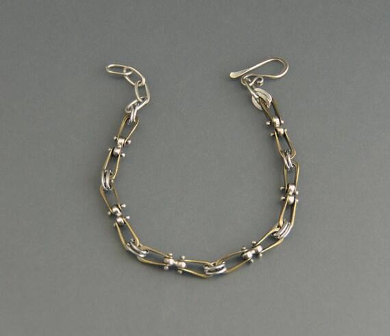 Stirrup Bracelet Mixed Metal Sterling Silver Brass Rivets