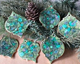 SALE SIX Ceramic Christmas Ornaments edged in gold SECONDS