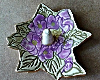 Ceramic Ring Holder Purple flowers edged in gold