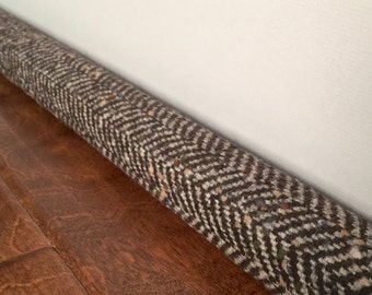 HERRINGBONE custom length wool draft dodger,  door stopper, light noise blocker draft stopper cover
