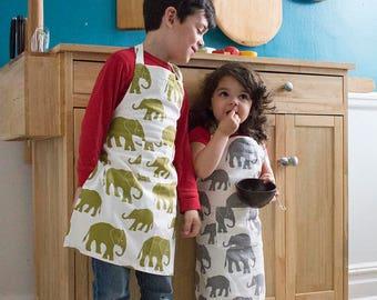 Elephants Kids Apron - Kitchen Craft Art Play Apron - Children's Cotton Apron with Elephants - Childs Organic Apron - GOTS Certified