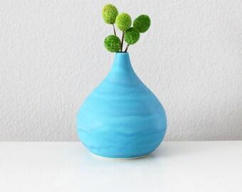 Handmade Porcelain Teardrop Vase in Matte Turquoise