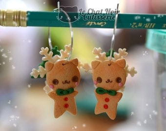 Kawaii Earrings Ginger Cat Meowy Christmas