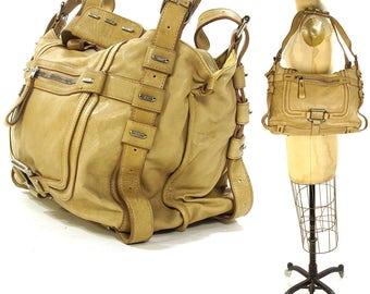 90s BIG Designer Shoulder Bag / Vintage 1990s Large Tan Leather Purse / Butter Soft Oversized Hobo with Pockets
