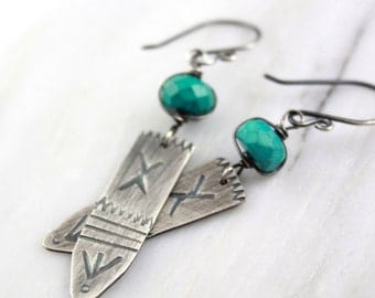 Turquoise and Stamped Silver Spearl Earrings