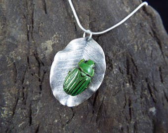 Real Sterling Leaf with Real Green and Silver Scarab Beetle Necklace