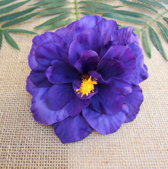 Vintage Hair Accessories: Combs, Headbands, Flowers, Scarf, Wigs Purple Hibiscus Hair Clip PinUp Tropical Hair Clip  Hawaiian Hair ClipPurple Hibiscus Hair Clip PinUp Tropical Hair Clip  Hawaiian Hair Clip $10.00 AT vintagedancer.com