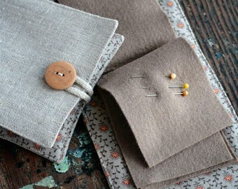 Small Linen Needle Book - Sewing Machine or Scissors button