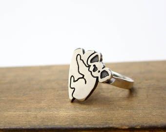 Sterling Silver Koala Ring - Animal Ring