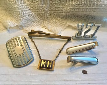 Vintage Mens SUPPLIES TIE Clips Belt Buckle Car Number Jewelry REMAKE Reuse Dad Assemblage Fathers Day Shadow Box Supplies Embellishments