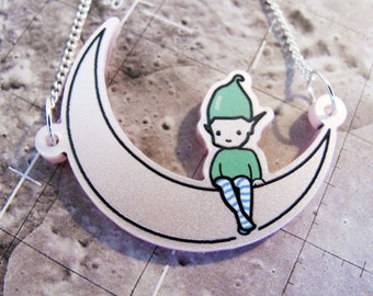Frosted Pink Pixie Moon Necklace and gift box
