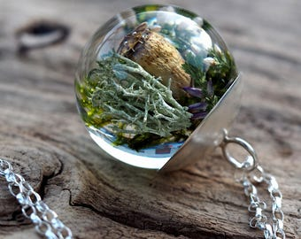 Green Moss, Poppyhead  and Heather Pendant, Large Resin Round with Sterling Silver Chain, Forest Theme, Botanical Jewelry