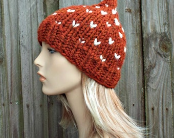 Burnt Orange Gnome Hat - Orange Knit Hat Orange Womens Hat Orange Beanie Orange Hat - Orange Winter Hat - READY TO SHIP