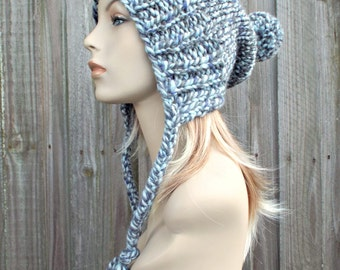 Winter Sky Grey Blue Slouchy Womens Knit Hat - Charlotte Ear Flap Pom Pom Beanie - READY TO SHIP