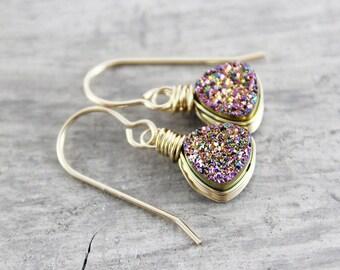 Rainbow Druzy Earrings, Gold Druzy Earrings, Small Drop Earrings, Wire Wrap Earrings, Trillion Earrings, Rainbow Gold Earrings, Geometric
