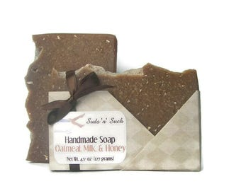Oatmeal, Milk, and Honey Scented Soap - Exfoliating & Scrubby Soap - Dye Free - Cold Process - Rustic - Homemade Soap