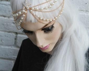 Mermaid Starfish Shell beaded Head Chain Headband