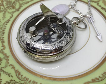 Working Compass Necklace, Compass Sundial, Silver Compass Sundial, Sundial Necklace, Compass Necklace, Gift Under 30, Gift for Her