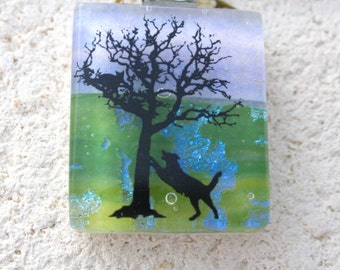 Dog Necklace, Dichroic Glass Jewelry, Dichroic Dog Pendant, Dog Jewelry, Fused Glass Jewelry, Glass Jewelry Dog Playing, 110116p103