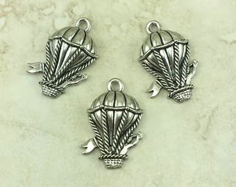Hot Air Balloon Charm > New Mexico Festival Steampunk Sky Pirate Raw Unfinished American Made Lead Free Silver Pewter I ship Internationally