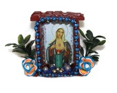 Wooden Guadalupe Nicho//Upcycled Mexican Folk Art//Reclaimed Wood Shadowbox//Dia de los Muertos//Day of the Dead//