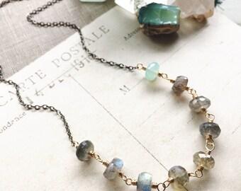 M I S T...Labradorite necklace, aqua chalcedony, gold, boho, healing, Base Chakra, energy, gunmetal, Leo, layering necklace FREE SHIPPING