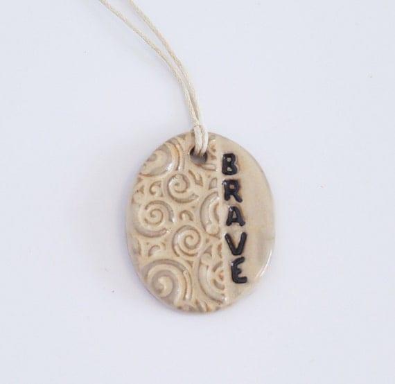 Ceramic Pendant - Statement Pendant - Adjustable - Stoneware - Brave - Dream - Sassy - Joy - Pottery Necklace - Ceramic Necklace